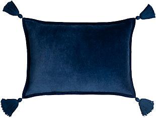 Surya Cotton Velvet Tassled Pillow, Dark Blue, rollover