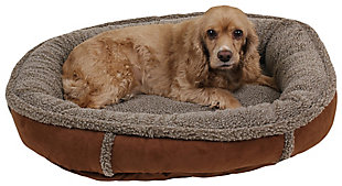 Berber Small Round Comfy Cup® Pet Bed, Chocolate, rollover