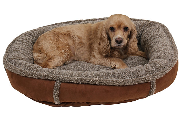 Berber Small Round Comfy Cup® Pet Bed, Chocolate, large