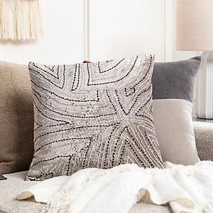 Surya Kenzo Pillow Cover, Light Gray, rollover