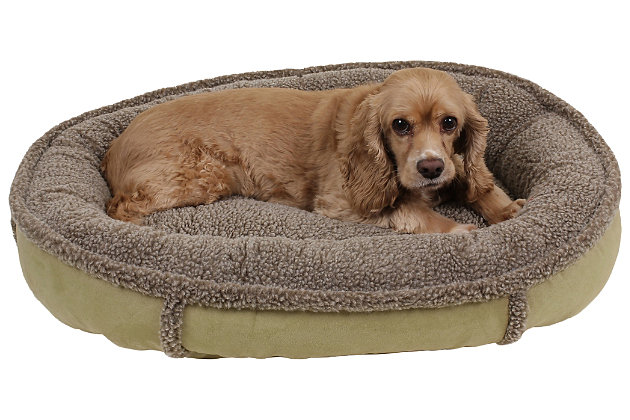 Berber Small Round Comfy Cup® Pet Bed, Sage, large