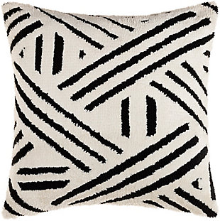 Surya Sheldon Pillow Cover, Black, large
