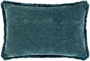 Surya Washed Cotton Velvet Pillow Cover, Denim, rollover