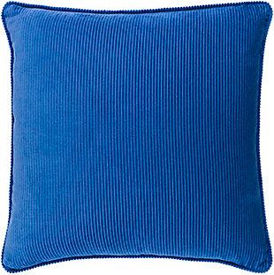 Surya Corduroy Pillow, Dark Blue, rollover