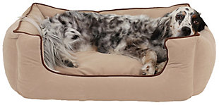 Kuddle Small Lounge Pet Bed, Linen, rollover