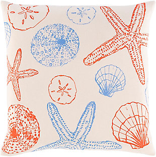 Surya Sea Life Pillow Cover, Bright Orange/Bright Blue, large
