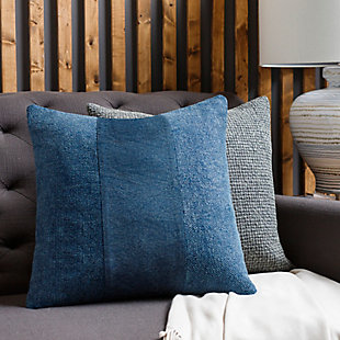 Surya Washed Stripe Pillow Cover, Navy, rollover