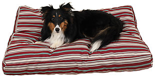 Jamison Small Striped Pet Bed, Red, rollover