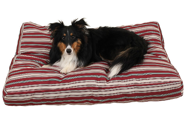 Jamison Small Striped Pet Bed, Red, large