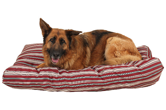 Jamison Large Striped Pet Bed, Red, large