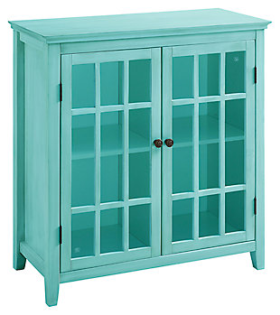 Largo Antique Finish Double Door Cabinet, Turquoise, large