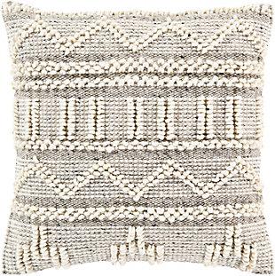 Surya Faroe Pillow Cover, Cream/Khaki, large