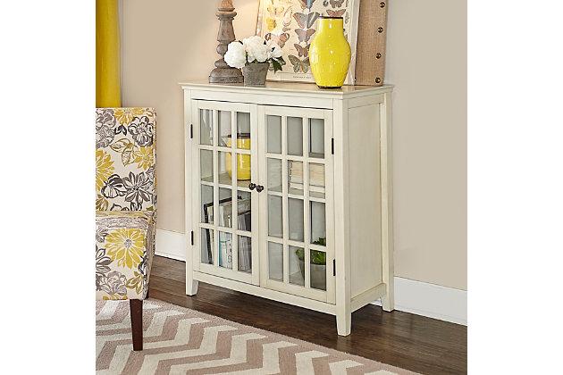 Largo Antique Finish Double Door Cabinet, Antique White, large