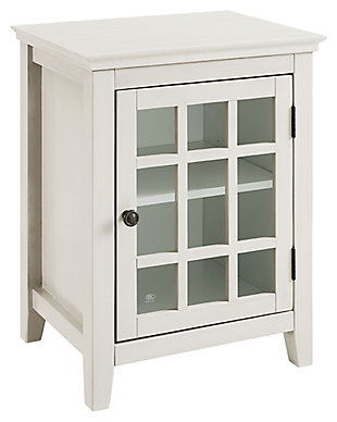 Largo Antique Finish Single Door Cabinet, Antique White, large