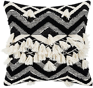 Surya Gaza Pillow Cover, Beige/Black, large