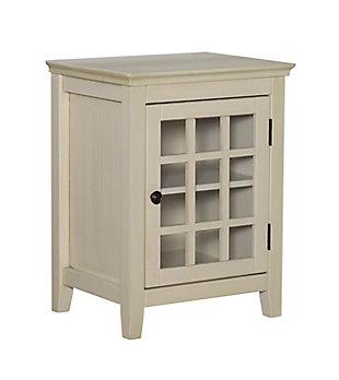 Largo Antique Finish Single Door Cabinet, Antique White, large