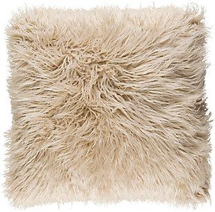Surya Kharaa Faux Fur Pillow Cover, Khaki, large