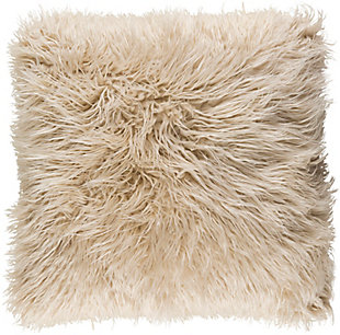 Surya Kharaa Faux Fur Pillow Cover, Khaki, rollover