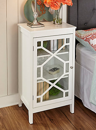 Fetti Single Door Cabinet, White, large