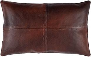 Surya Sheffield Leather Pillow, Dark Brown, rollover
