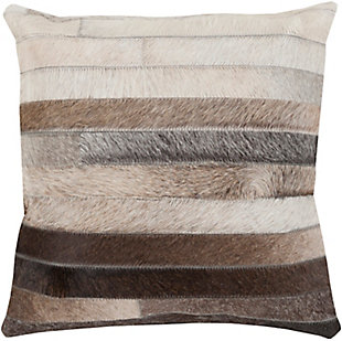 Surya Trail Leather Pillow Cover, Medium Gray/Beige, large