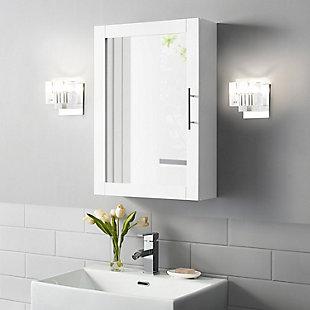 Savannah  Mirrored Wall Cabinet, White, rollover