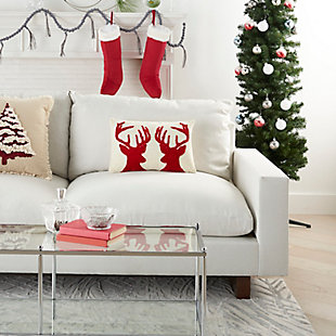 """Mina Victory 12"""" X 18"""" Reindeer Holiday Pillow, , rollover"""