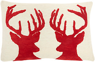 """Mina Victory 12"""" X 18"""" Reindeer Holiday Pillow, , large"""