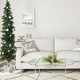 "Mina Victory 16"" X 16"" Cream/silver Poinsettia Holiday Pillow, , rollover"