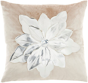 """Mina Victory 16"""" X 16"""" Cream/silver Poinsettia Holiday Pillow, , large"""