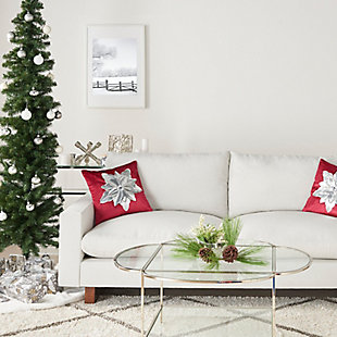 """Mina Victory 16"""" X 16"""" Red/silver Poinsettia Holiday Pillow, , rollover"""