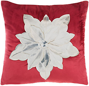 """Mina Victory 16"""" X 16"""" Red/silver Poinsettia Holiday Pillow, , large"""