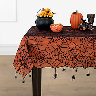 """Crawling Halloween Spider Lace Lined Tablecloth, 70"""" Round, , rollover"""