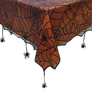"""Crawling Halloween Spider Lace Lined Tablecloth, 70"""" Round, , large"""