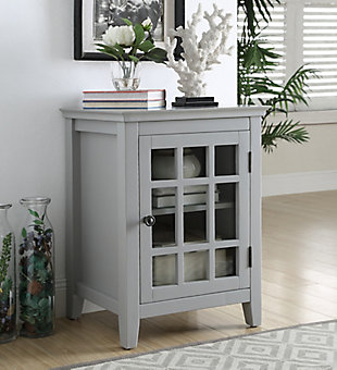 Leslie Single Door Cabinet, Gray, rollover