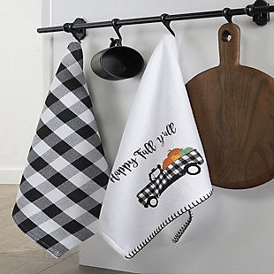 Happy Fall Y'all and Check Kitchen Towel Set, 18x28, , rollover