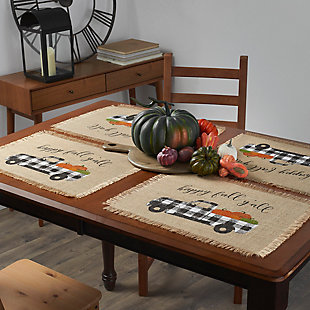 Happy Fall Y'all Farmhouse Burlap Placemat, 13x19 (Set of 4), , rollover