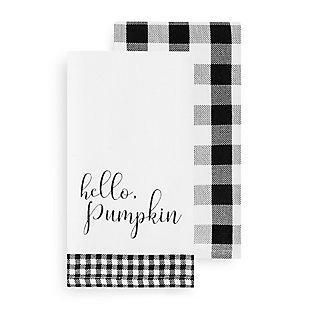 Hello Pumpkin and Check Kitchen Towel Set, 18x28, , large