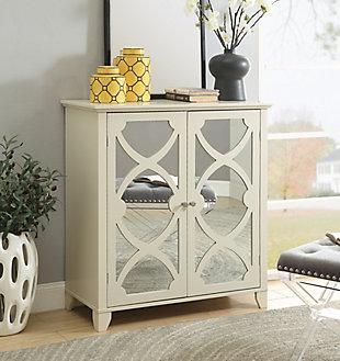Winter Double Door Cabinet with Mirror Door, Cream, large