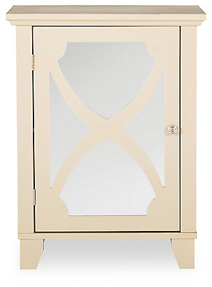 Winter Single Door Cabinet with Mirror Door, Cream, large