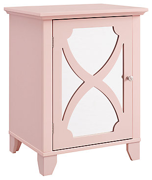 Winter Single Door Cabinet with Mirror Door, Pink, large