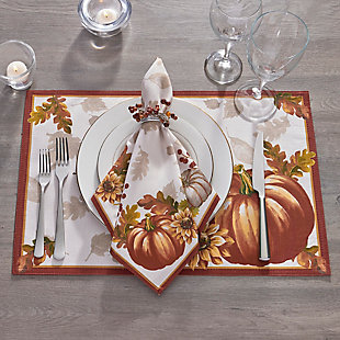 Swaying Leaves Bordered Fall Napkins, 17x17 (Set of 8), , rollover