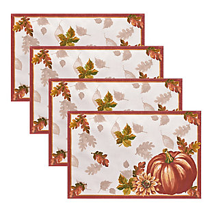Swaying Leaves Bordered Fall Placemat, 13x19 (Set of 4), , large