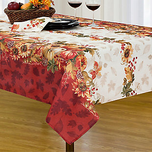 Swaying Leaves Bordered Fall Tablecloth, 60x102 Oblong, Multi, rollover