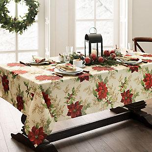 Festive Poinsettia Holiday Fabric Tablecloth, 60x120, Multi, rollover