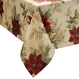 Festive Poinsettia Holiday Fabric Tablecloth, 60x120, Multi, large
