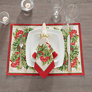 Holly Traditions Holiday Placemats, 13x19 (Set of 4), , rollover