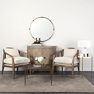 Mercana Landon Light Brown Wood with Cream Fabric Seat and Cane Back Accent Chair, Cream, rollover