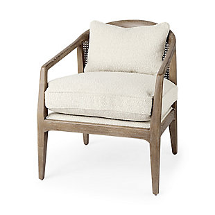 Mercana Landon Light Brown Wood with Cream Fabric Seat and Cane Back Accent Chair, Cream, large