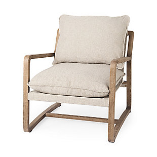 Mercana Brayden Light Brown Wood with Beige Fabric Seat Accent Chair, Beige, large